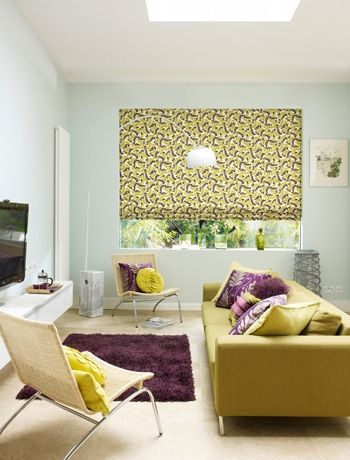 Zesty Lime And Aubergine Living Room Colour Scheme