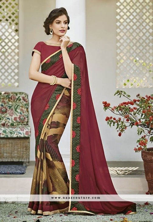 Prominent Multicolored Patch Border Work Party Wear Saree