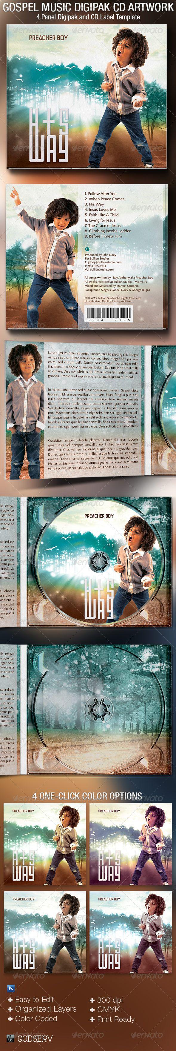 Gospel Music 4 Panel Digipak CD Artwork Template - #CD & #DVD #Artwork Print #Templates Download here: https://graphicriver.net/item/gospel-music-4-panel-digipak-cd-artwork-template/5378136?ref=alena994
