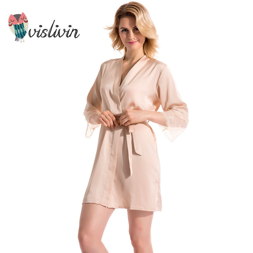 Vislivin 2017 New product Mid-sleeve sexy women nightwear robes lace real  silk female bathrobes 9 colors nightie negligee 62732826a