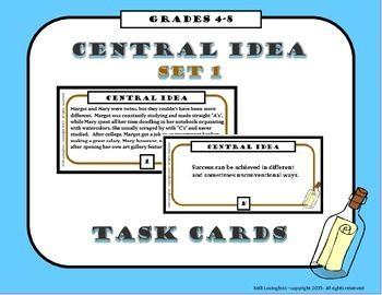 Central Idea Theme Task Cards Theme Task Cards Task Cards Language Arts Task Cards