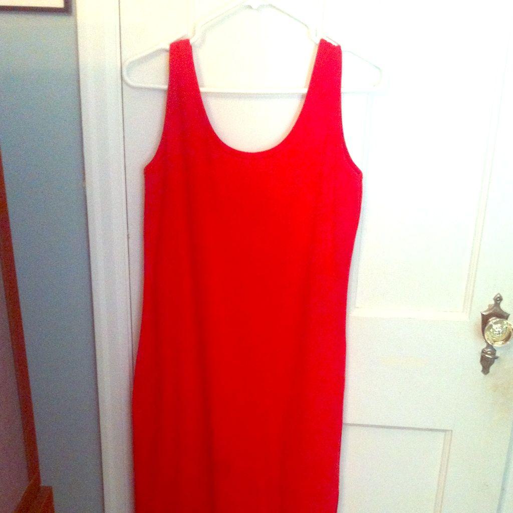Express- Long Red Midi Dress