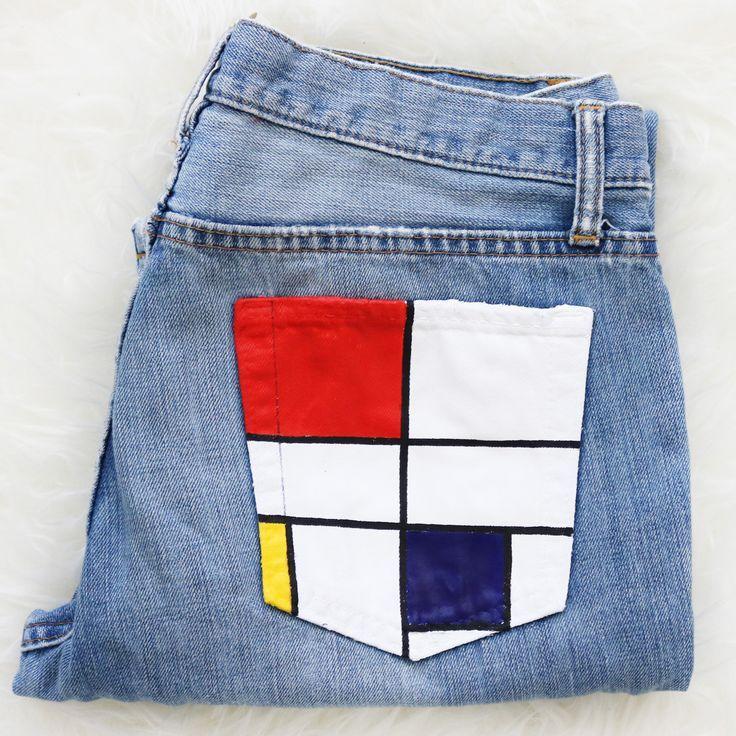 Jeans Pintados A Mano Composicion C Por Piet Mondrian Kleidung Diy Outfit Ideen Tumblr Kleidung