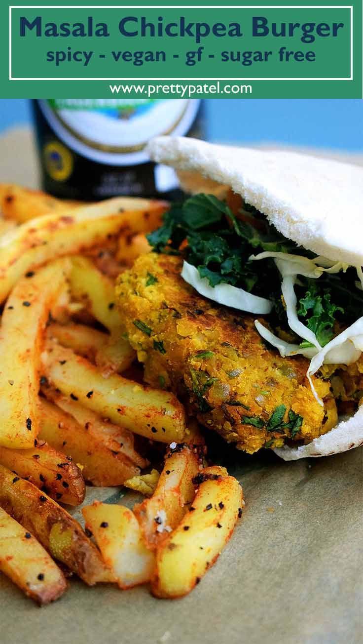 hamburguesa de garbanzos masala, receta de hamburguesa, hamburguesa india, receta saludable, vegana, glu ...