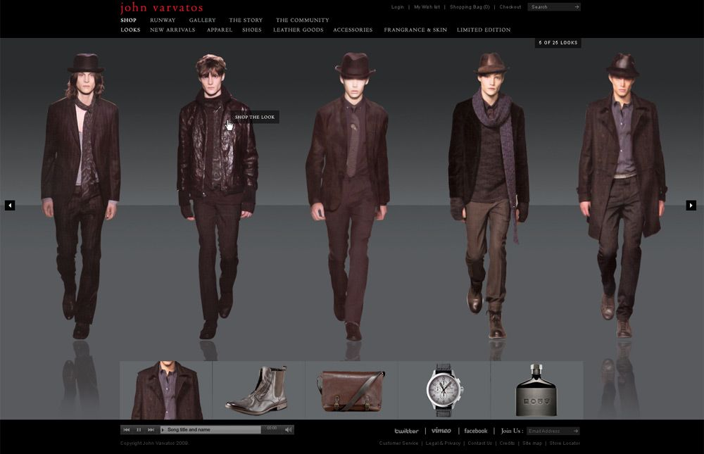 COLLECTIONS Runway looks showcase the collections with full zoom and video options.