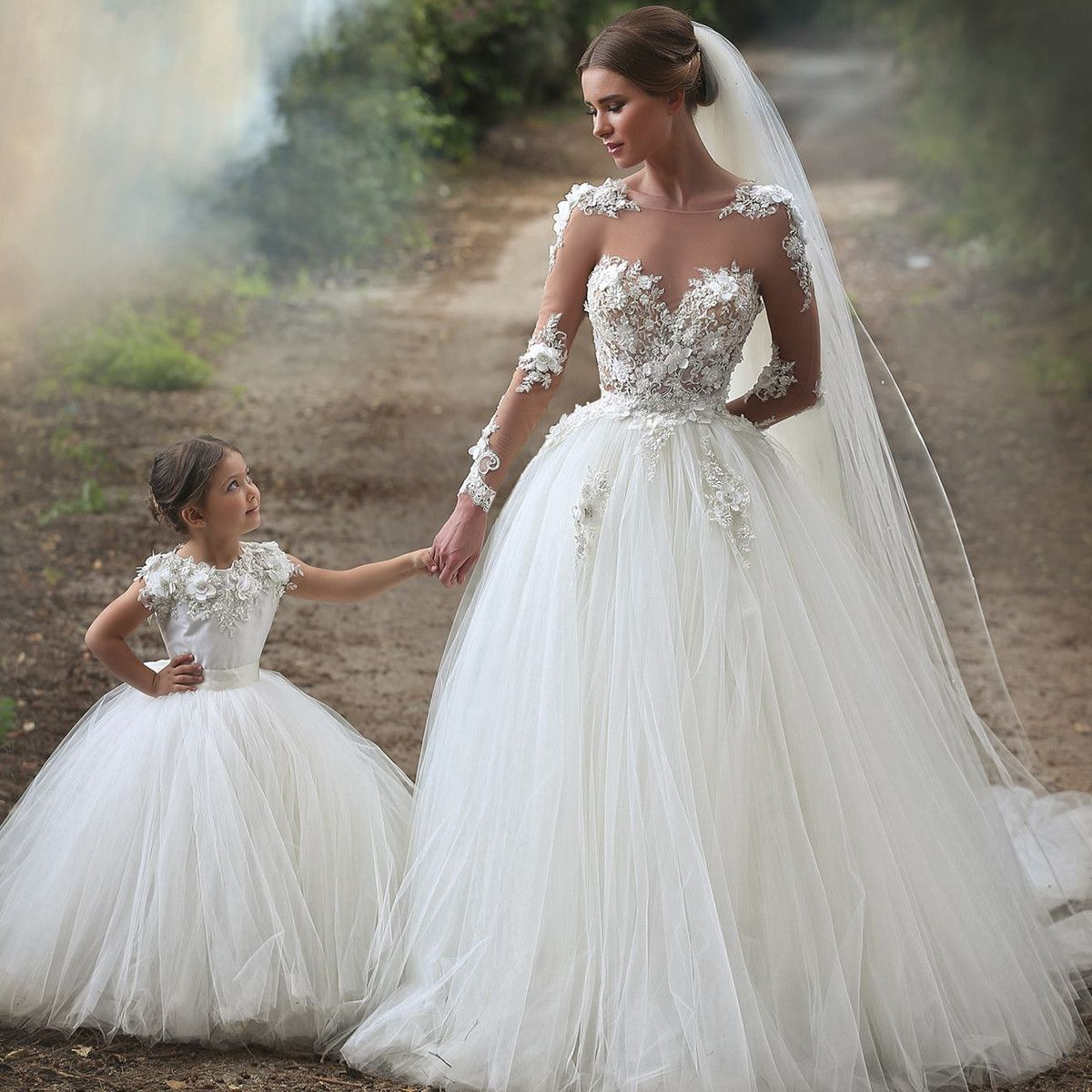 Sheer long sleeves tulle princess wedding dresses romantic