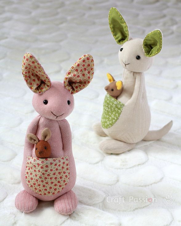 Sock Kangaroo Plushie - Free Sewing Pattern & Tutorial | Craft Passion