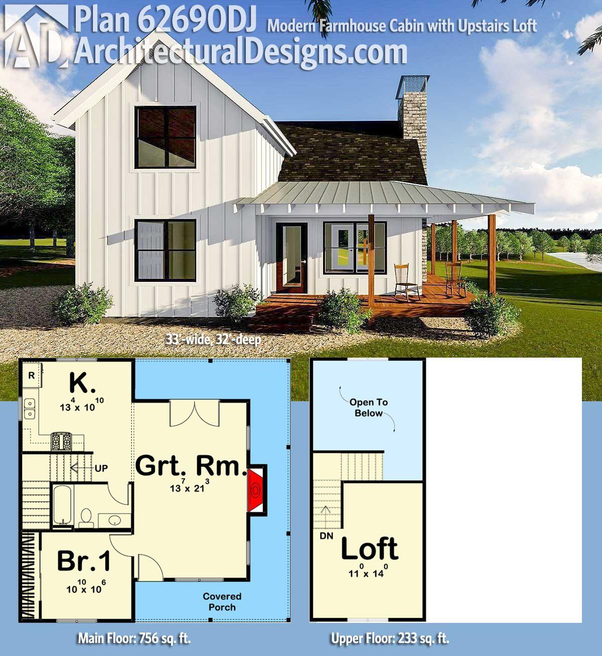 Plan 62690dj Modern Farmhouse Cabin With Upstairs Loft House Plans Farmhouse Architectural Design House Plans House Plans