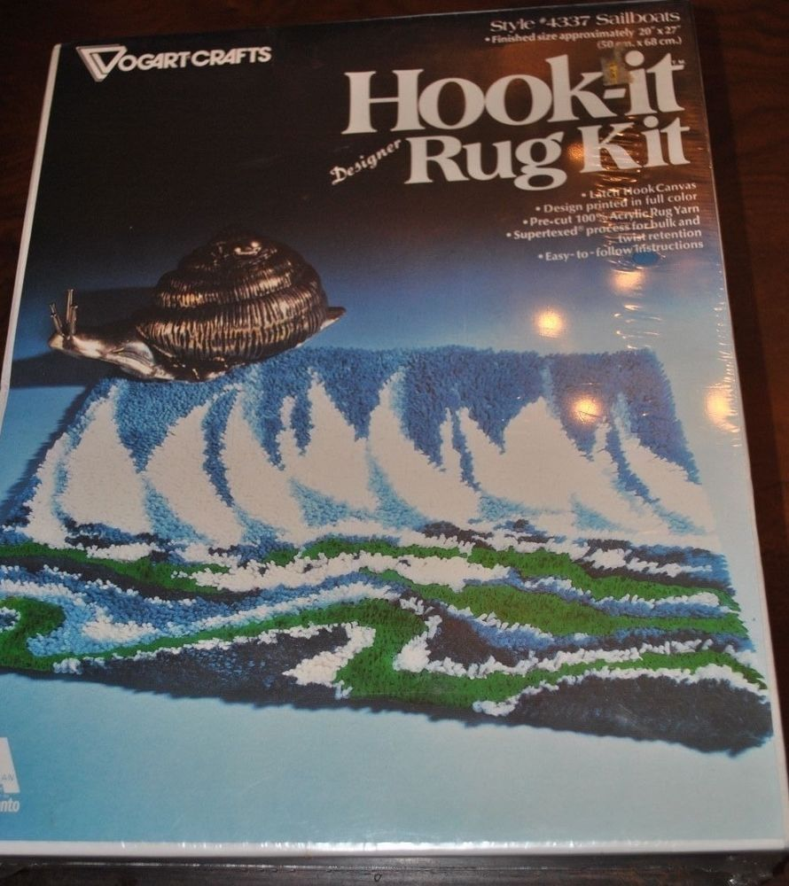 "VOGART CRAFTS #4337 SAILBOATS Hook-it Latch Hook Rug Kit Vintage 20"" x 27"" NEW #VogartCrafts"