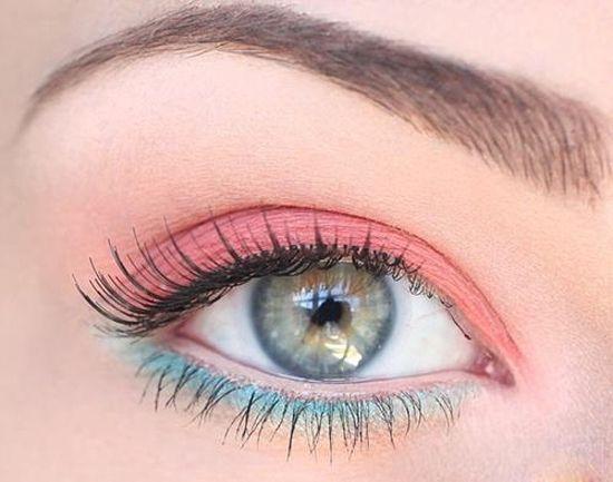 Valentine blue and pink make-up.
