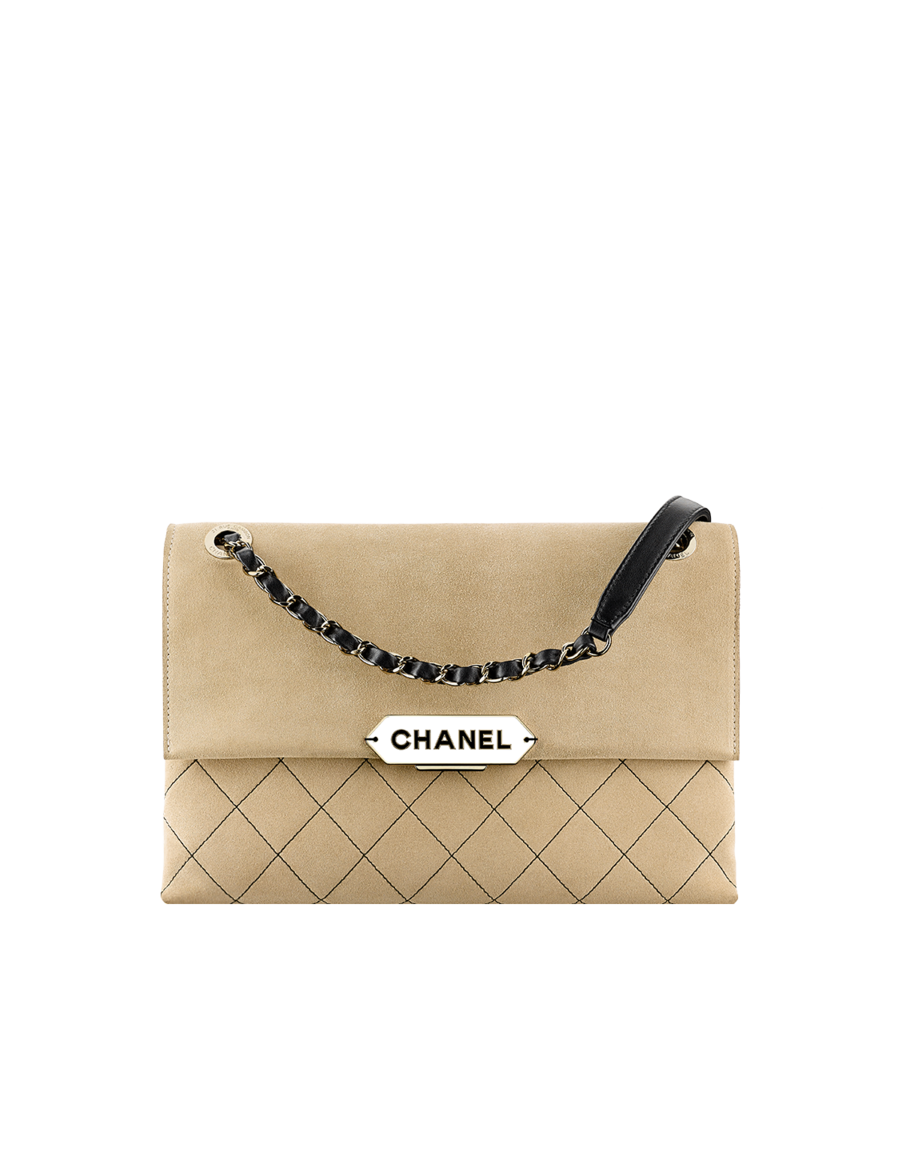 0efdd95d35c5 Flap bag, suede calfskin & light gold metal-beige & black - CHANEL ...
