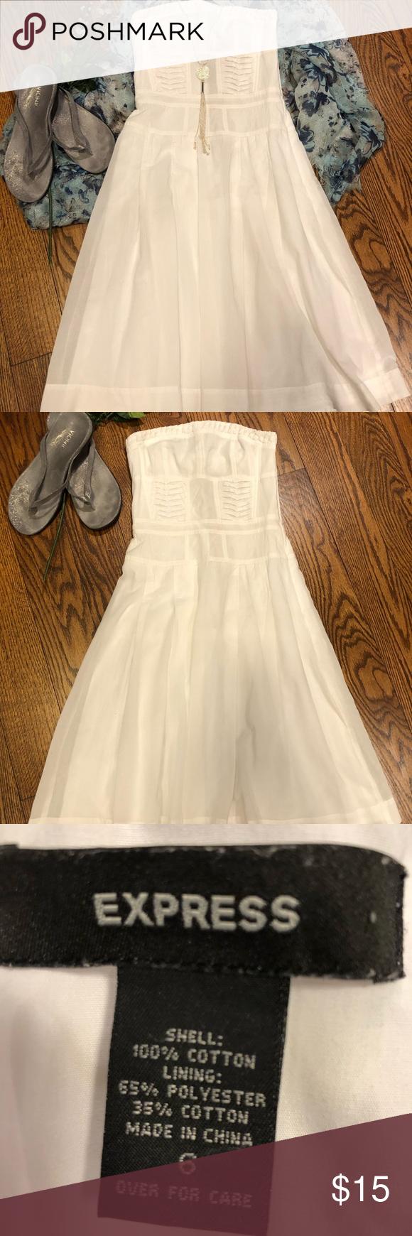 Express cotton strapless dress express white cotton strapless dress