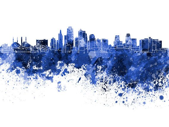 Kansas City Skyline In Watercolor On White 8 Monochrome Colors And Full Color