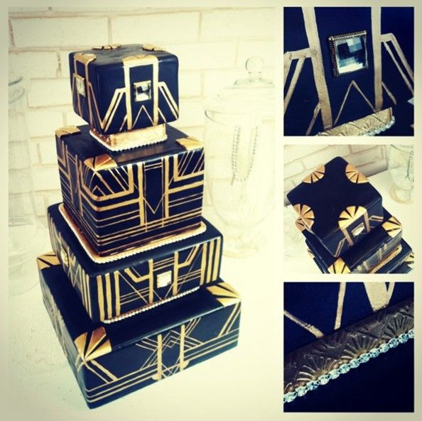 """vintage Great Gatsby art deco black and gold wedding cake """"I love her and that's the beginning and the end of everything"""""""