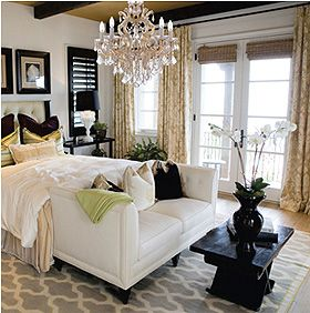 Master Bedroom: Chandelier, White Bedding, Chaise At Foot Of Bed, Dark W/  Light, Floor To Ceiling Drapes.