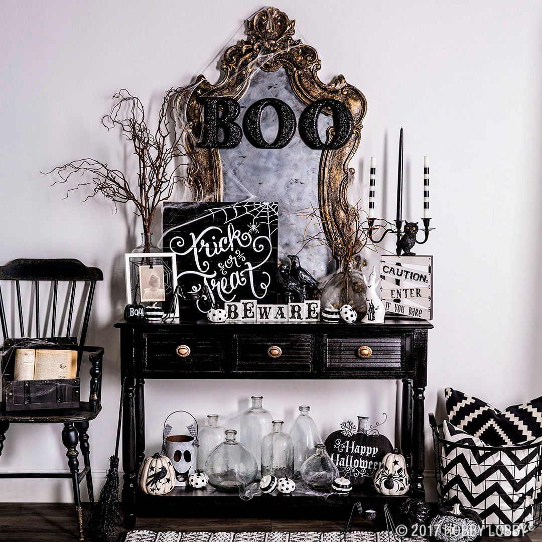 Create A Spooky Cute Halloween Entry Just Add A Bit Of Black And White Ghostly Charm To Yo Spooky Halloween Decorations Spooky Halloween Halloween Party Decor