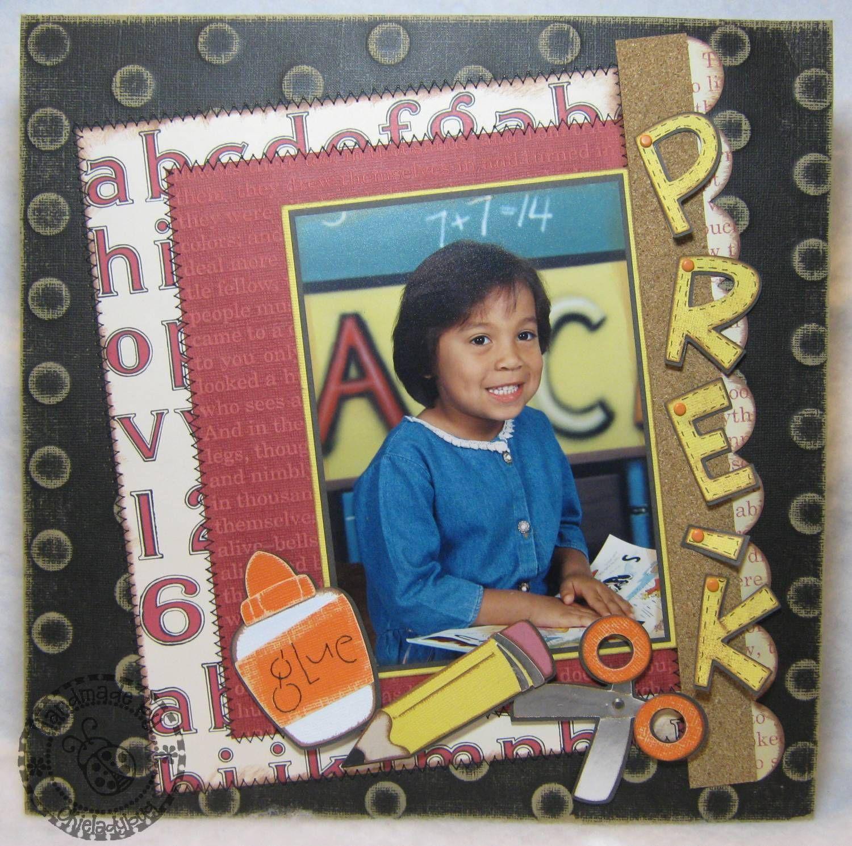 Scrapbook ideas school - Pre K School Portrait Scrapbook Layout