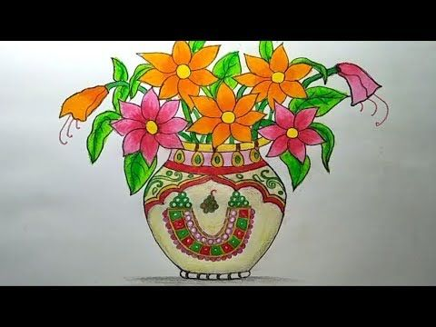 How To Draw A Flower Vase Step By Step With Oil Pastel Kids In