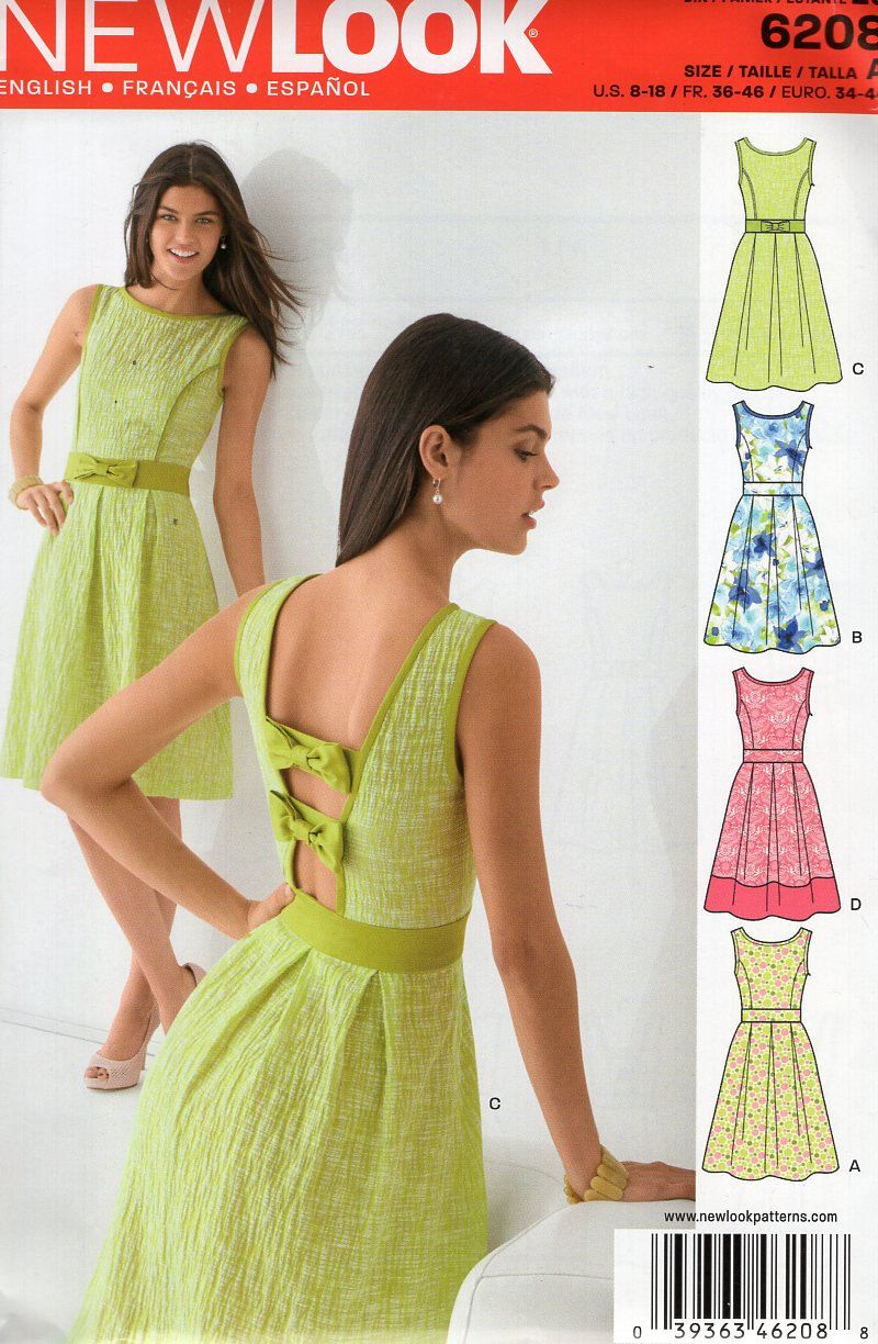 New Look 6208 Free Us Ship Backless Bow Dress Sewing Pattern Old ...