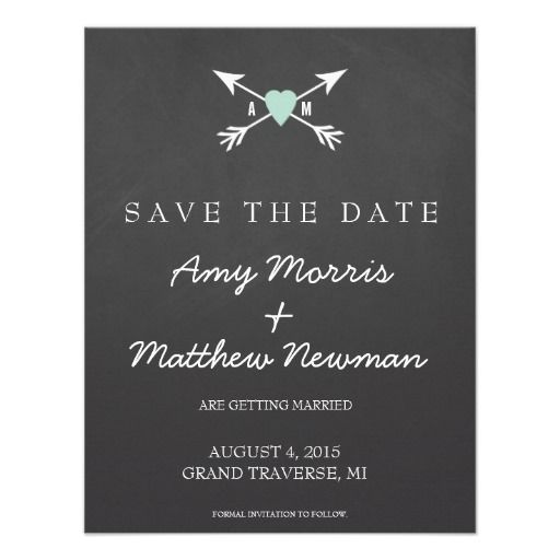 Chalkboard Heart   Arrow Wedding Invites | Wedding