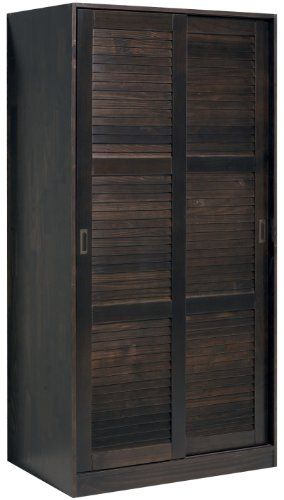 Wardrobe with 2 sliding louver doors java 36 w x 72 h x for 1 door wardrobe with shelves