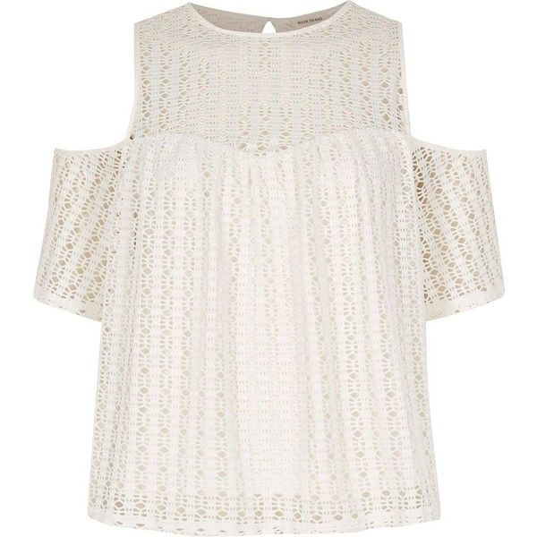 1a426f4dec85b River Island Cream cold shoulder lace top ( 34) ❤ liked on Polyvore  featuring tops