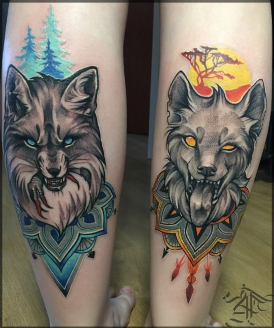 Wolf And Fox Tattoo On Calf Wolf Tattoo Sleeve Wolf Tattoo Design Tattoos