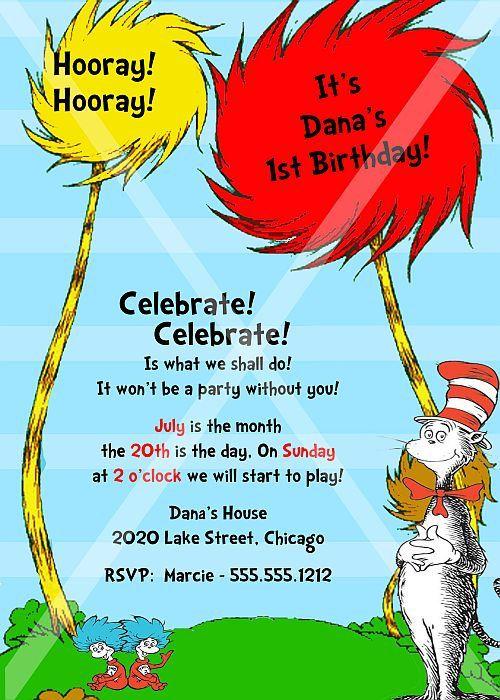 Dr Seuss Birthday Invitation PRINTABLE INVITATION DESIGN
