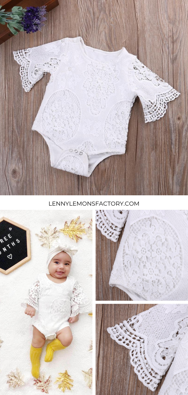 dcae29dd241 Beautiful white lace romper. Commonly purchased for baptisms