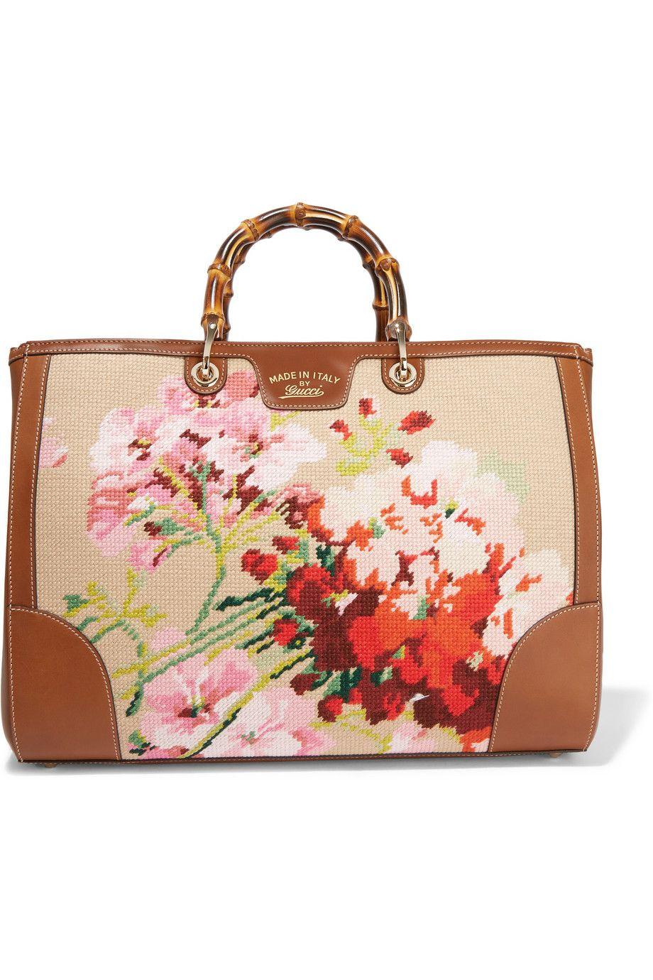 6e5fe75316 Gucci | Bamboo Shopper large leather-trimmed cross-stitch canvas tote