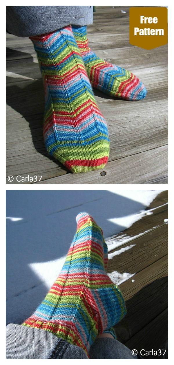 5 Zig Zag Socks Free Knitting Pattern | Knitting patterns ...