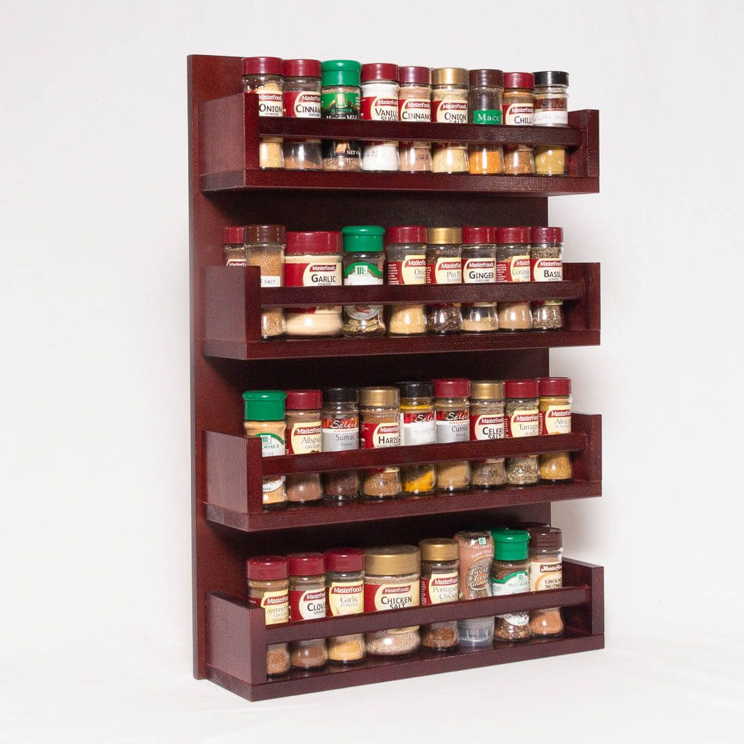 Spice Rack Wooden Open Top 4 Tiers Timber Rail 72 Spice