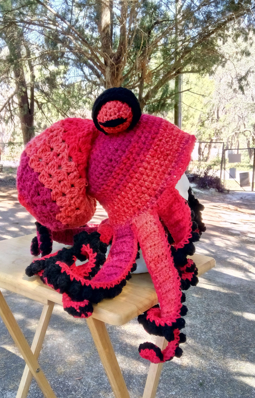 Octopus Hat Reds And Black Crochet Octopus Hat Ski Hat Squid