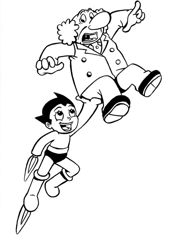 Astro Boy Fly Lift Professor Astro Boy Coloring Pages Astro Boy