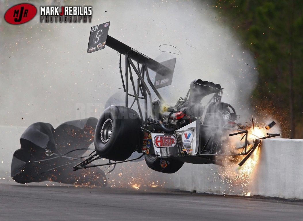 Nhra s larry dixon walks away from scary crash at gatornationals top fuel