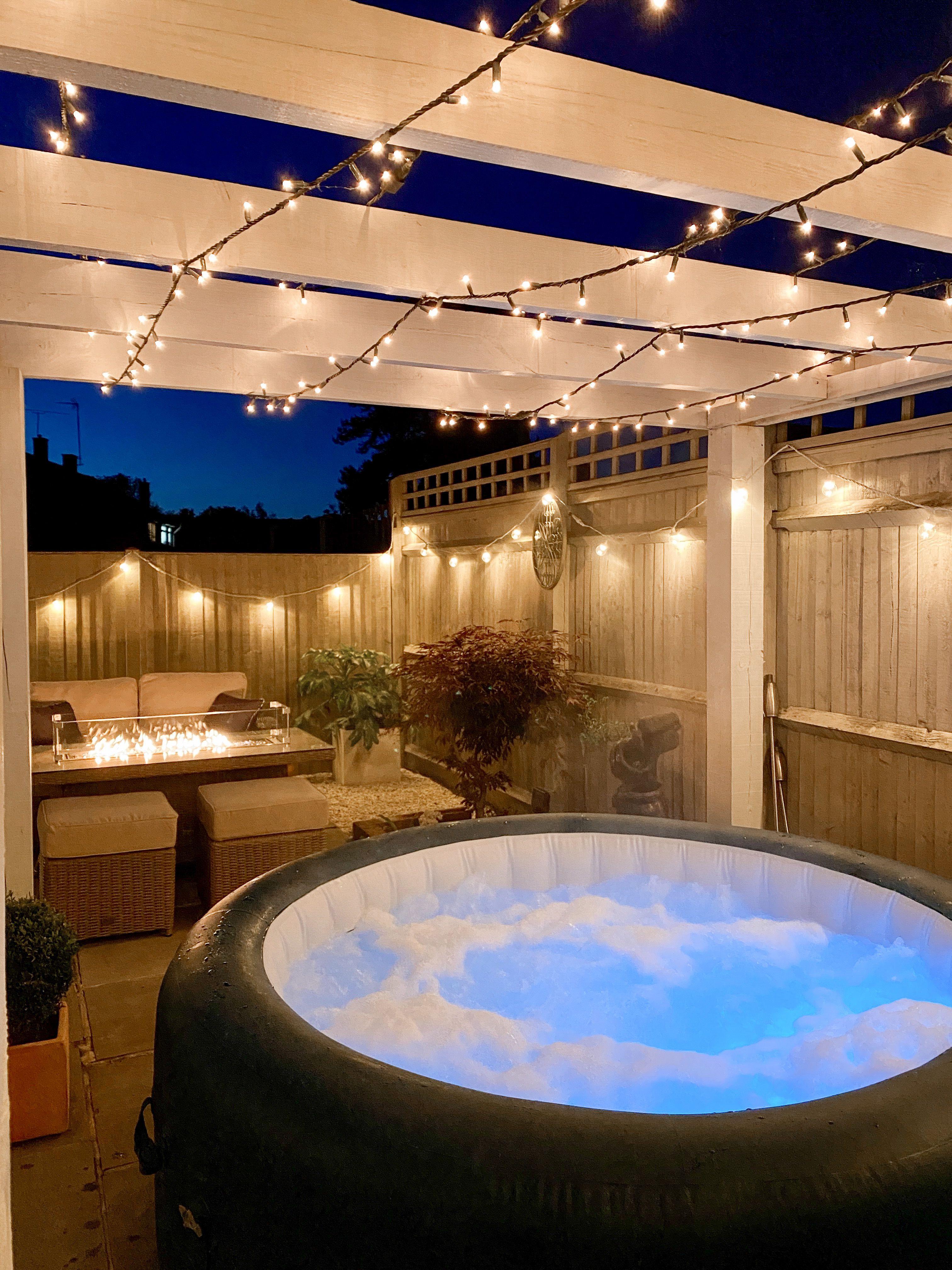 Patio Garden With Hot Tub Pergola And Fairy Lights Hot Tub Backyard Hot Tub Garden Hot Tub Pergola