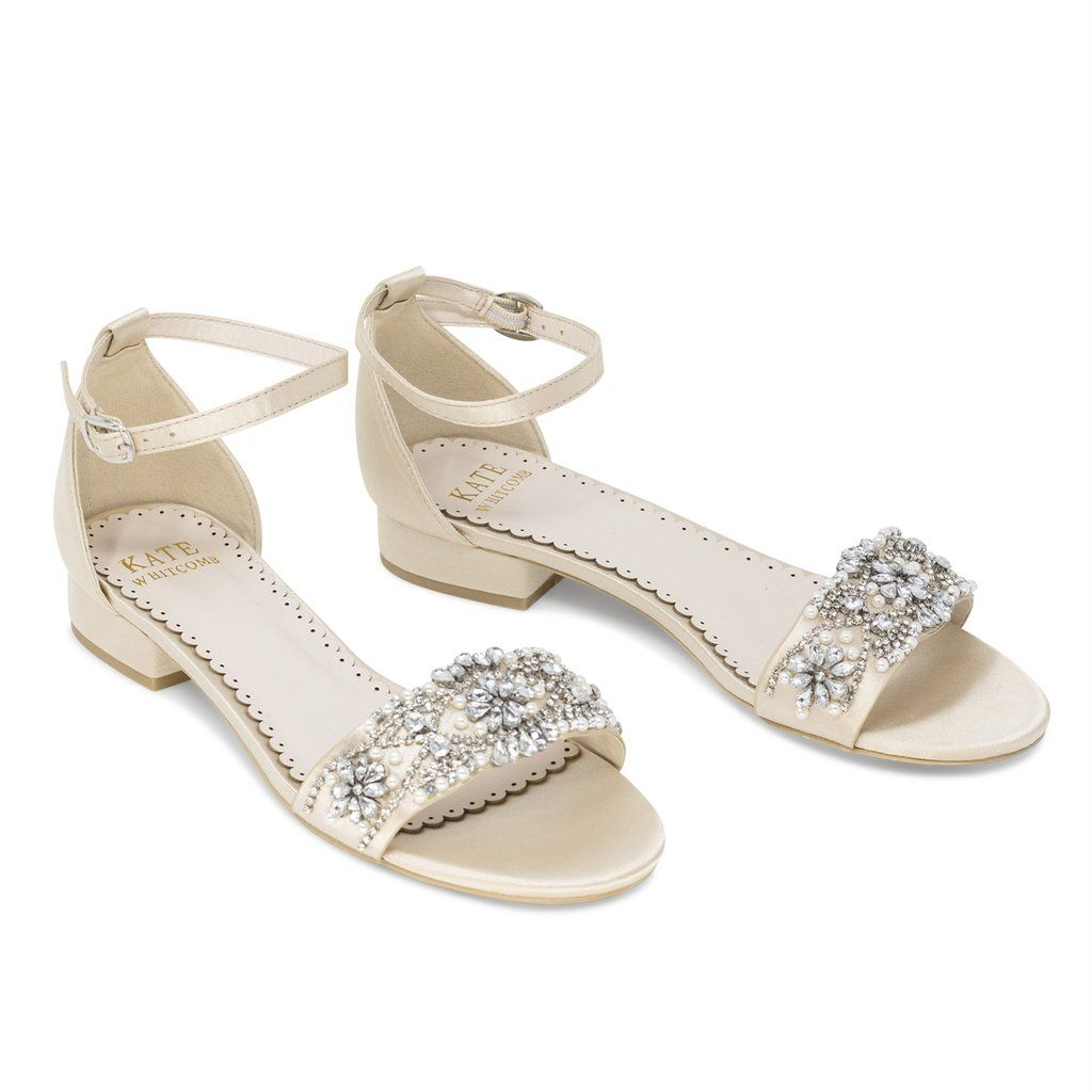 Aerin Champagne -Bridal Shoes Pearl And Rhinestone In 2020
