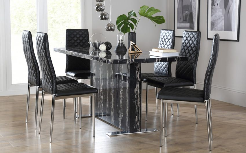 Room Magnus Black Marble Dining Table With 6 Renzo Chairs Chrome Legs