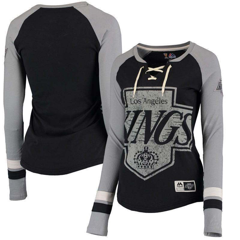 Los Angeles Kings Majestic Women s Vintage Hip Check Lacer Long Sleeve T- Shirt - Black 90bce3077