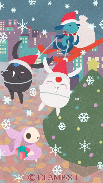 Another Christmas themed wallpaper for your smartphone drawn by CLAMP! This one shows the view from outside the window!