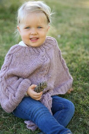 Lana By Erika Neitzke Cabled Poncho For Kids Free Knitting Pattern