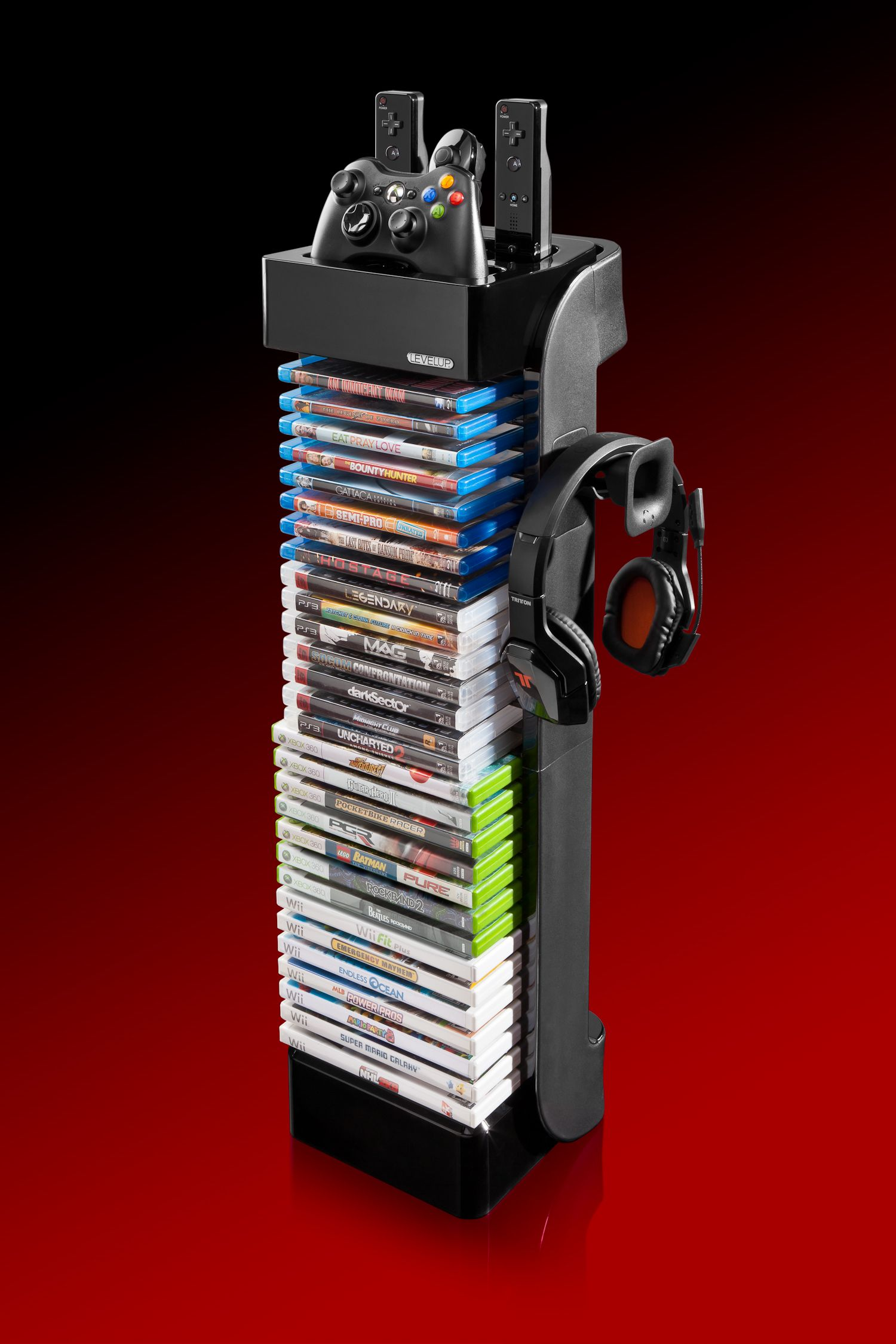 Rt Controller Storage Tower Design Function And Value Holds 28 Games Dvd And Blu Ray Discs Holds Video Game Rooms Game Storage Game Room Design