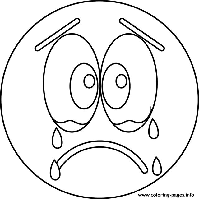 Print sad cry emoji coloring pages TFN Pinterest Sad