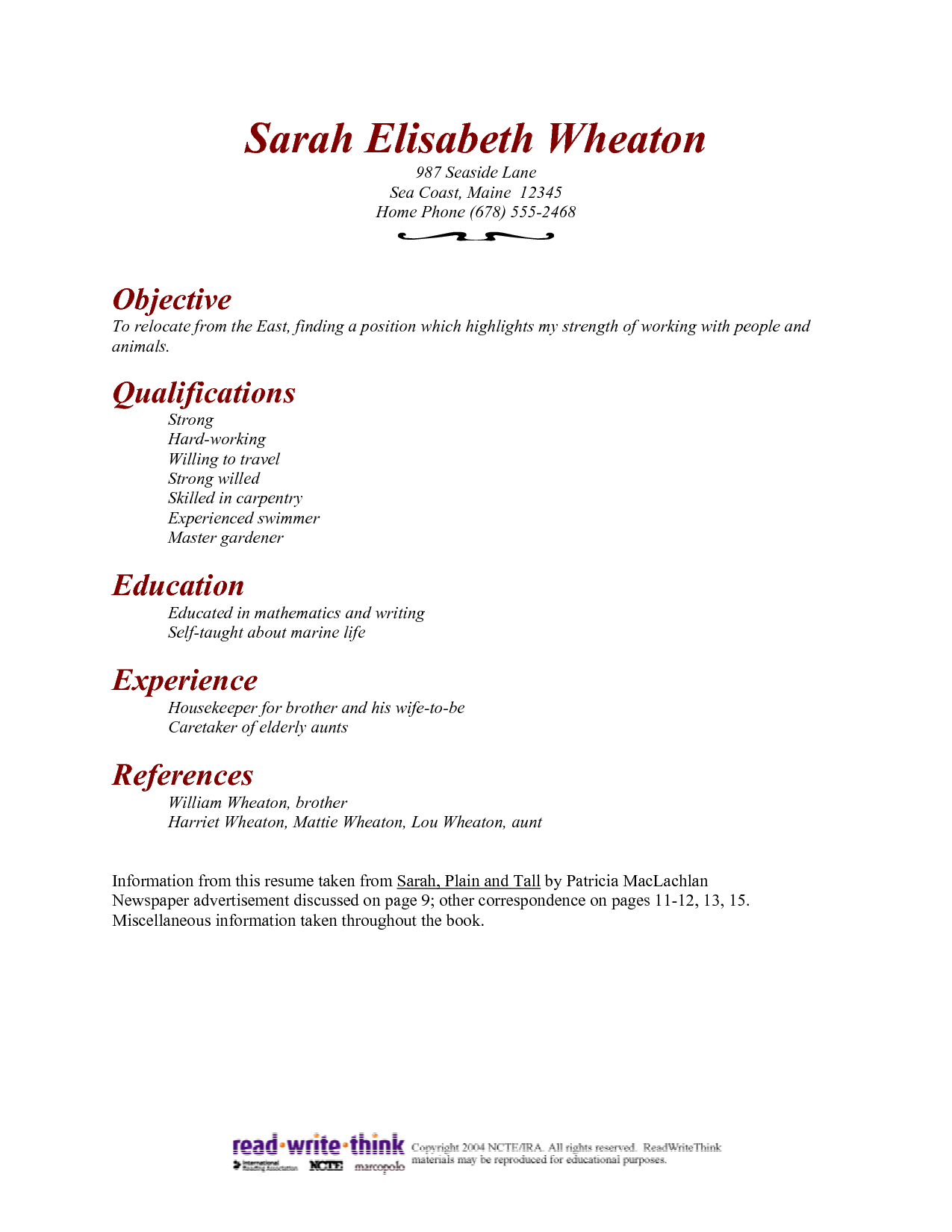 Resume For A Hospital Housekeeper Ad
