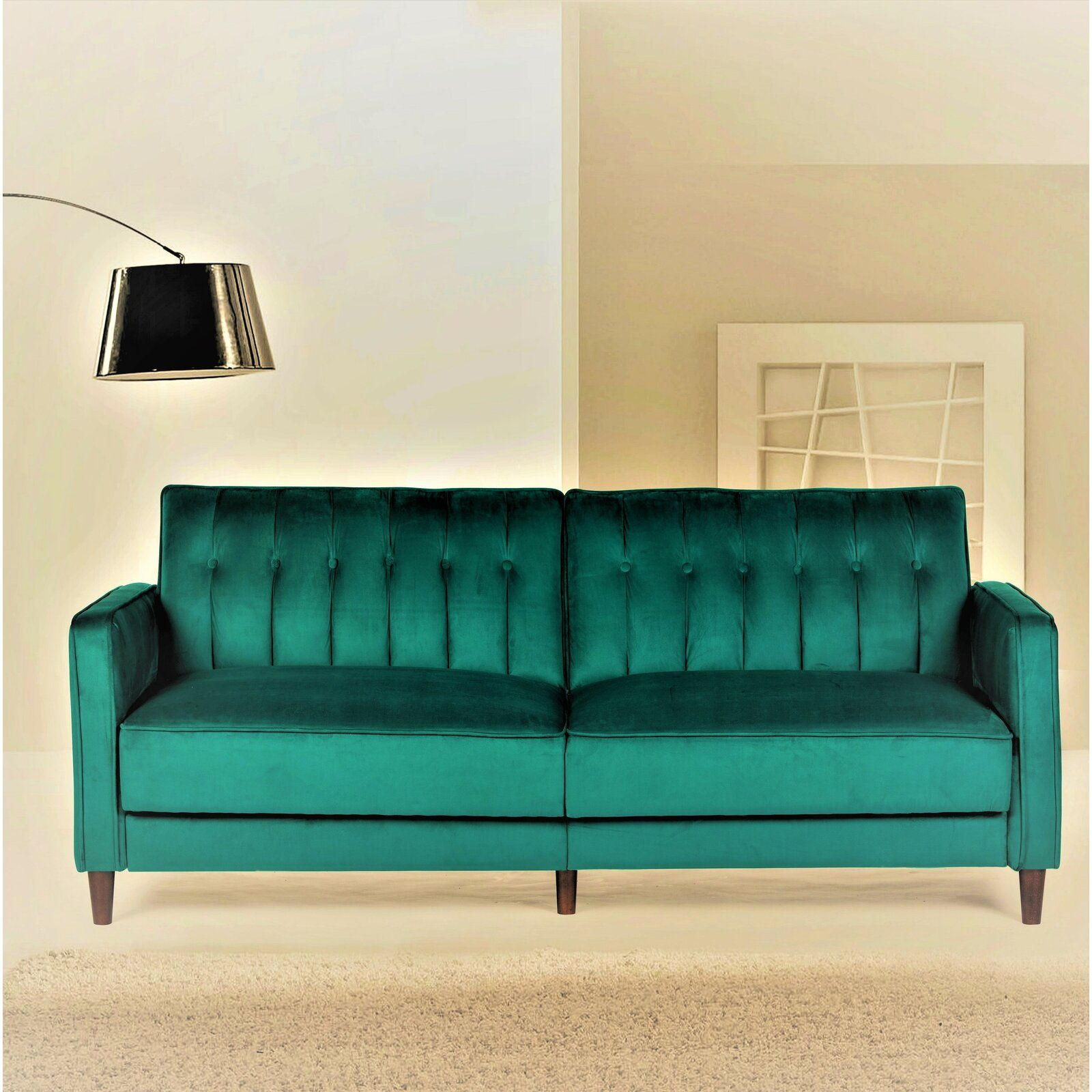 "Cornell Velvet 81"" Square Arms Sofa Bed Contemporary"