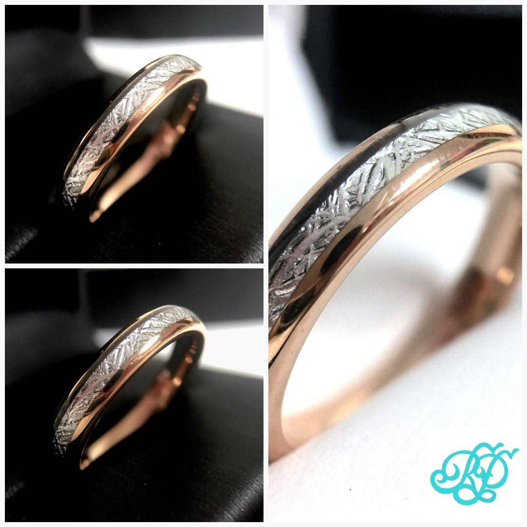 Meteorite Ring 4mm Ring Women Tungsten Ring Rose Gold Etsy Womens Tungsten Rings Rings For Men Wedding Rings For Women