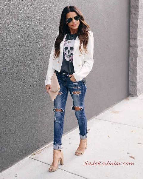 2020 Bayan Beyaz Blazer Ceket Kombinleri Mavi Yirtik Kot Pantolon Beyaz Askili Bluz Blazer Ceket Stiletto Ayakkabi Blazer Kiyafetler Blazer Ceket Blazer Kot