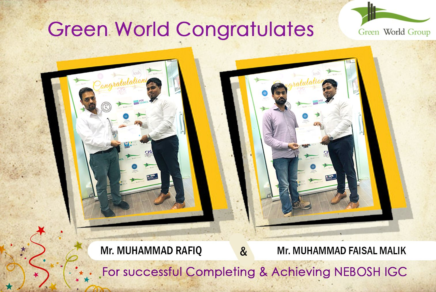 Green World Congratulates the students for successful