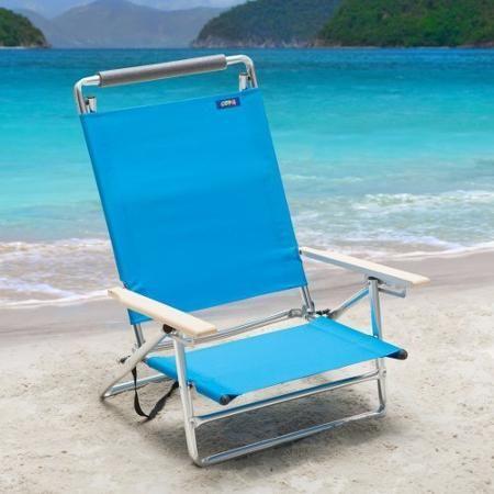 Copa 5 Position Lay Flat Aluminum Beach Chair Azure Beach