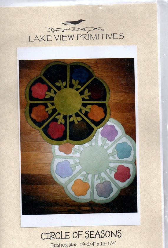 Primitive Folk Art Wool Applique Pattern  Circle by countrythyme, $5.75